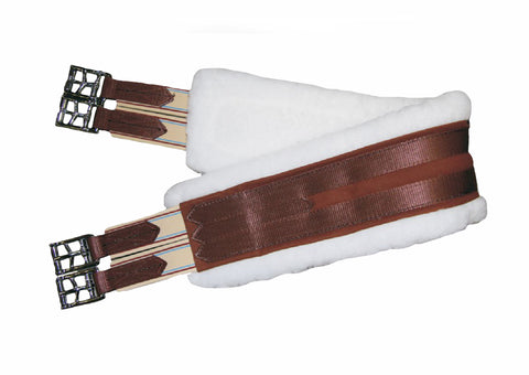White Sheepskin Brown Girth
