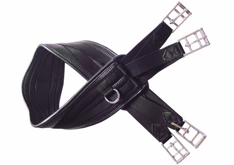 Black Curved Leather Waffle Girth