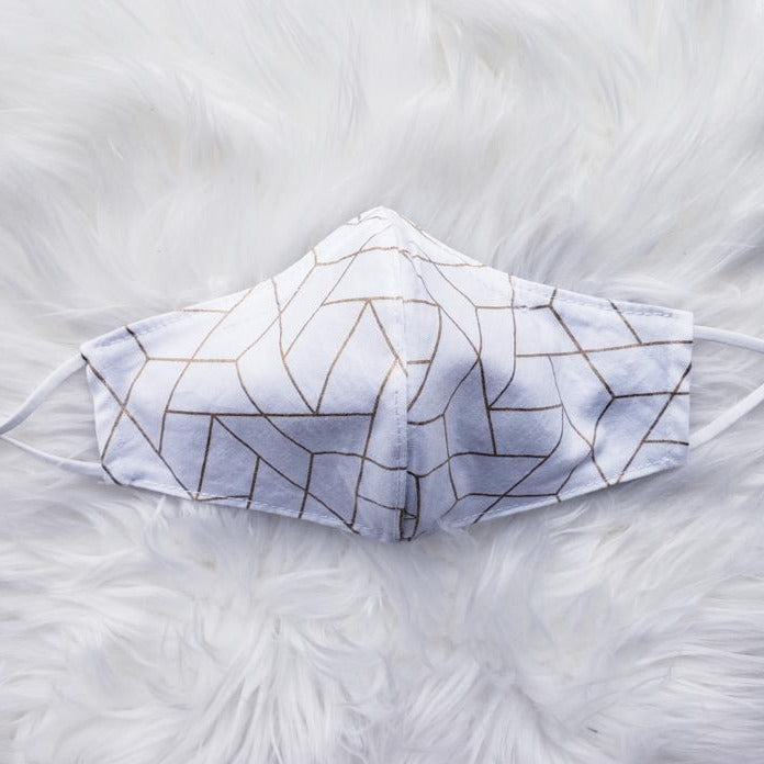 Hira Cotton Adjustable Face Mask - White Geometry - Home Smith