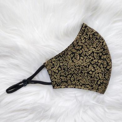 Hira Cotton Adjustable Face Mask - Black Gold Leaves - Home Smith