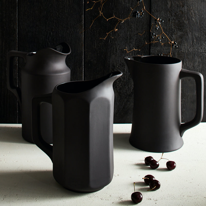 Still Life Stoneware Pitcher No. 2 - Matte Black - Home Smith