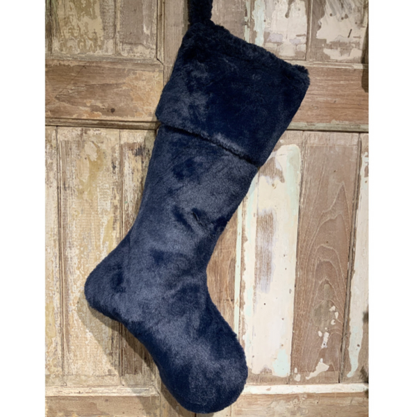 Plush Navy Fur Holiday Stocking - Home Smith