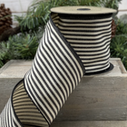 Canvas Stripe Ribbon in Black and Cream
