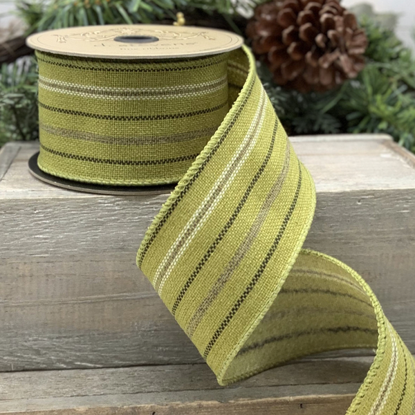 Hopsack Stripe Ribbon in Citrus and Grey - Home Smith