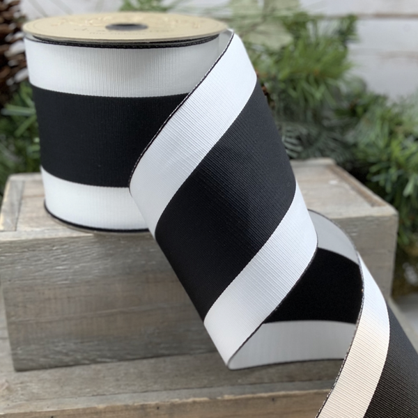 Wide Stripe Grosgrain Ribbon in Black and White - Home Smith