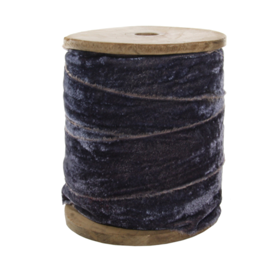 "Frayed 2"" Velvet Ribbon on Wood Spool in Grey - Home Smith"