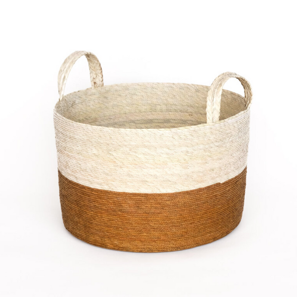 Two-Toned Natural Basket in Mustard - Home Smith