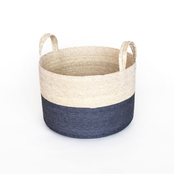 Two-Toned Natural Basket in Navy - Home Smith