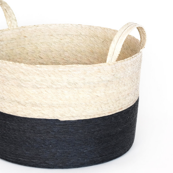 Two-Toned Natural Basket in Carbon - Home Smith