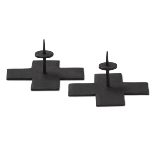 Icon Taper Candle Holders in Black - Home Smith