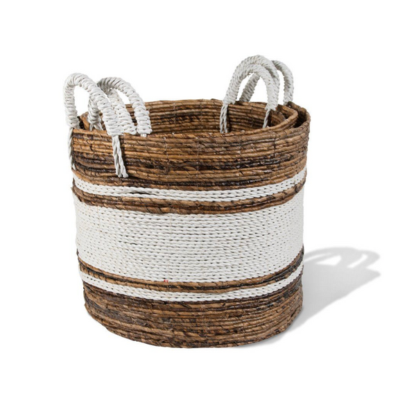 Round Banana Leaf Baskets Natural with White Stripe - Home Smith