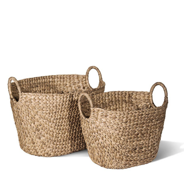Braided Water Hyacinth Oval Baskets - Home Smith