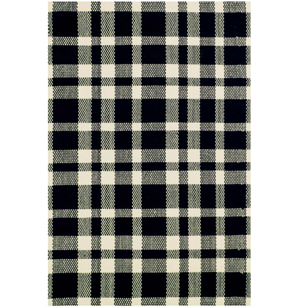 Tattersall Black and Ecru Cotton Rug - Home Smith