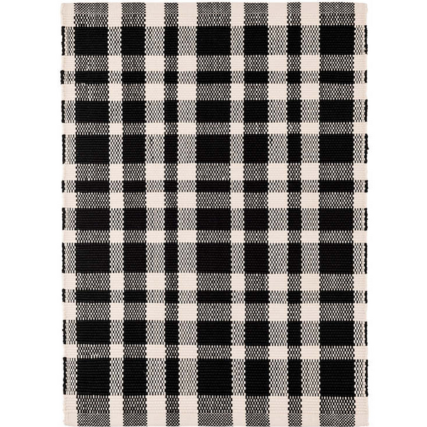 Tattersall Black Indoor/Outdoor Rug - Home Smith