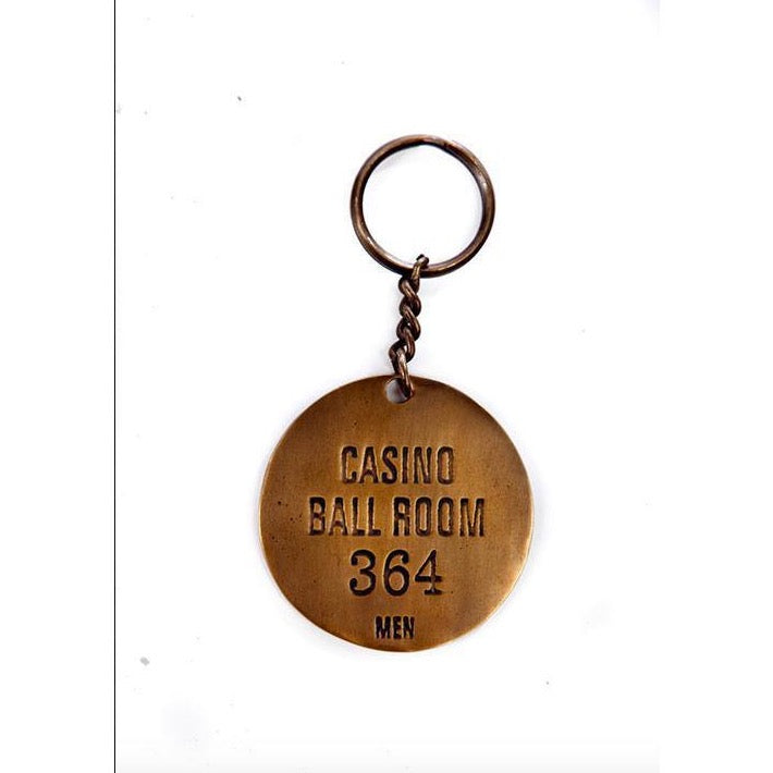 Antique Brass Round Casino Keychain - Home Smith