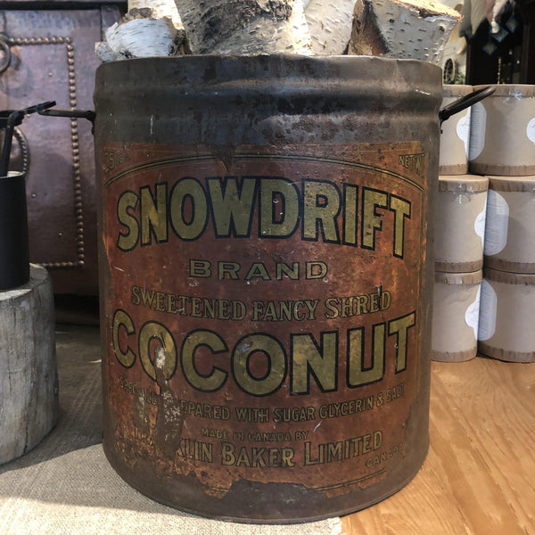Antique Snowdrift Brand Coconut Tin - Home Smith