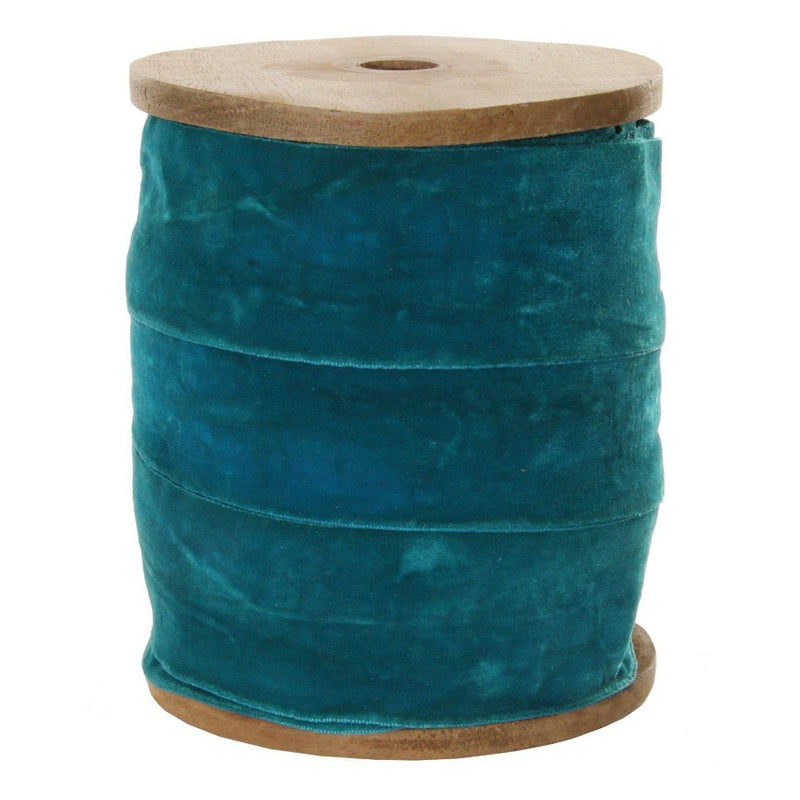 "Antiqued 2"" Velvet Ribbon on Wood Spool in Teal-Shi Shi-Home Smith"