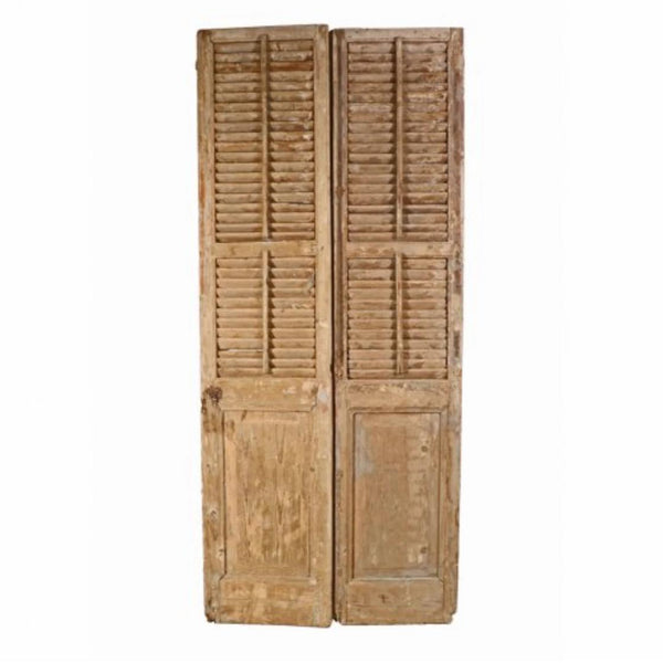Architectural Pair of Salvaged Shutters-Blue Ocean Traders-Home Smith