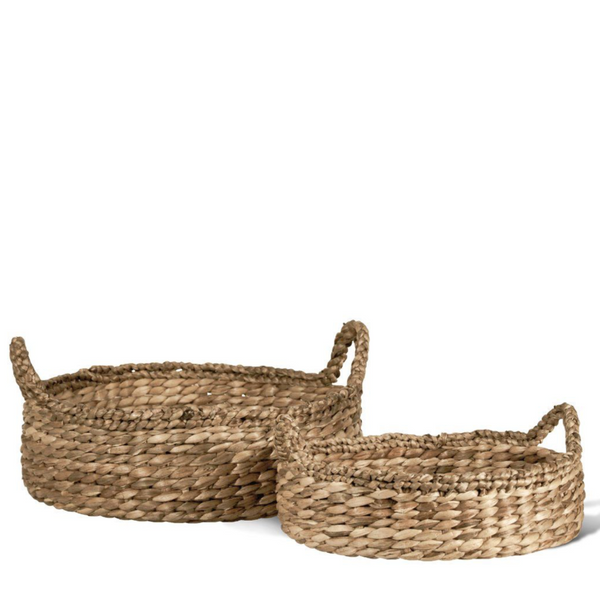 Braided Round Water Hyacinth Trays - Home Smith