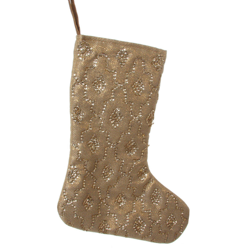 Beaded Gold Tree Stocking - Home Smith