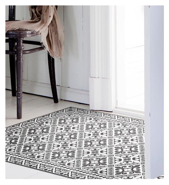 Beija Flor Fleur De Lys Floor Mat - Black and White - Home Smith