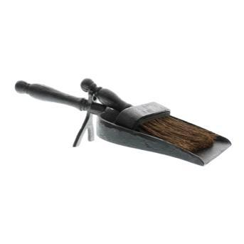 Black Cast Iron Fireplace Dust Pan with Broom - Home Smith