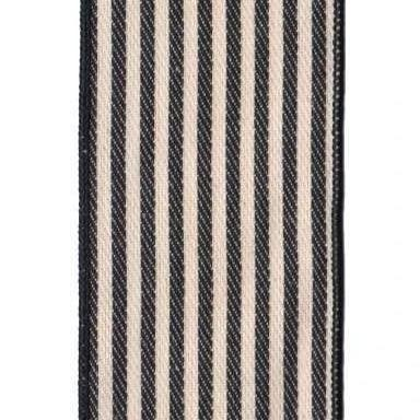 Canvas Stripe Ribbon in Black and Cream - Home Smith