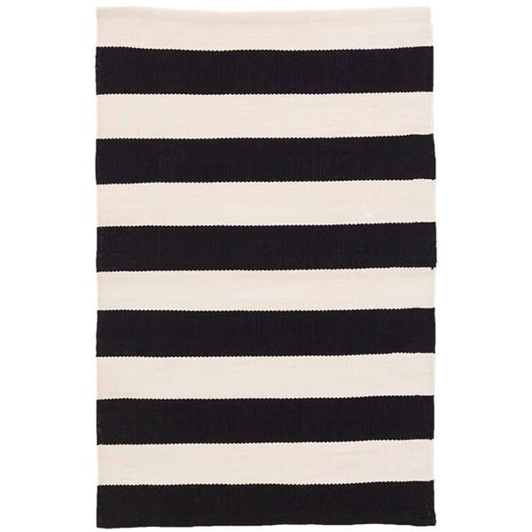 Catamaran Stripe Black/Ivory Indoor/Outdoor Rug-Dash & Albert-Home Smith