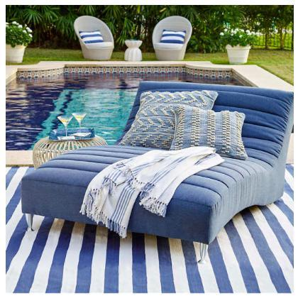 Catamaran Stripe Denim/White Indoor/Outdoor Rug - Home Smith