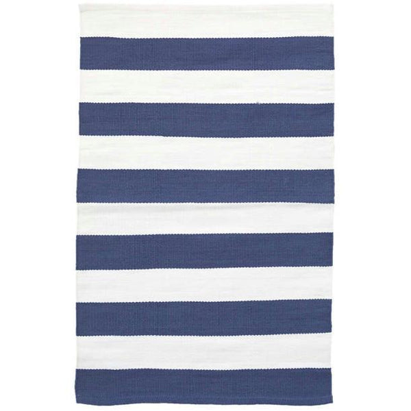 Catamaran Stripe Denim/White Indoor/Outdoor Rug-Dash & Albert-Home Smith