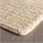 Cut Stripe Hand Knotted Viscose/Wool Rug - Ivory - Home Smith
