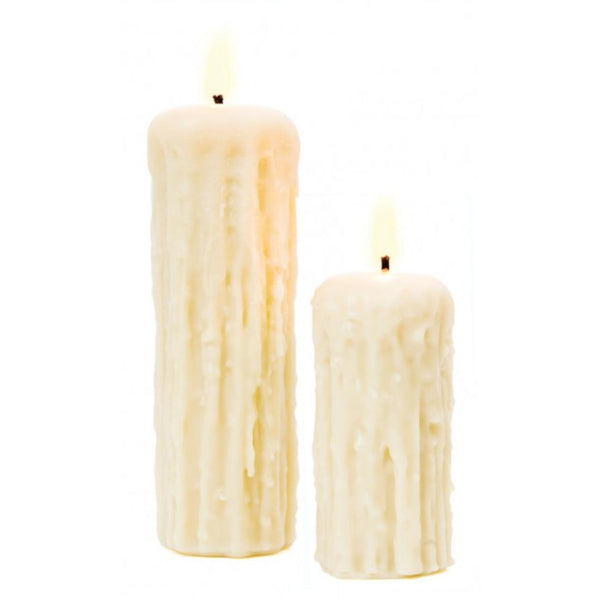 Dripped White Beeswax Pillar Candle - Home Smith