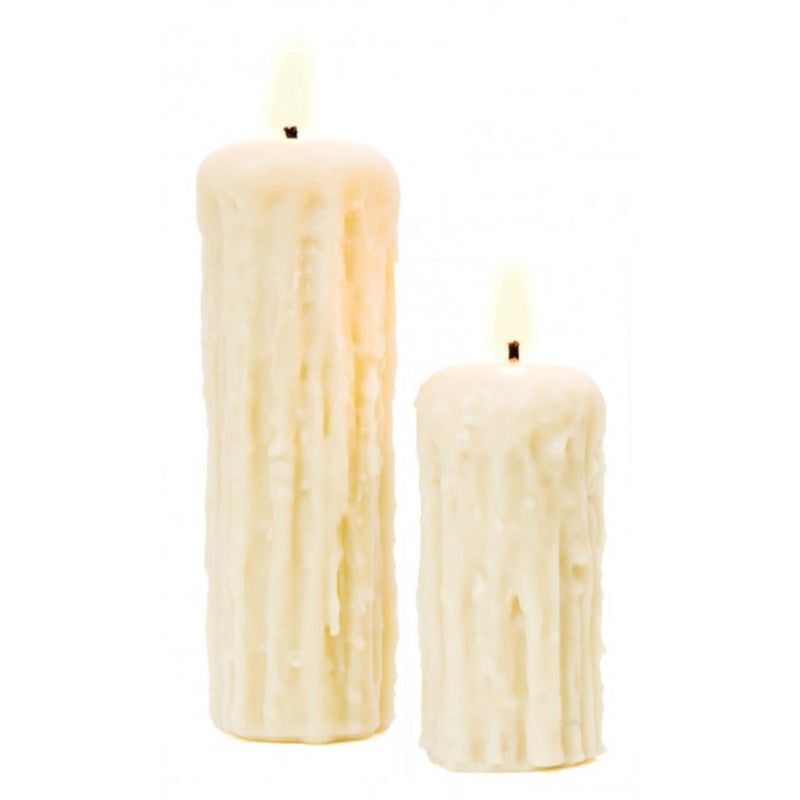 Dripped White Beeswax Pillar Candle-Cheeky Bee-Home Smith