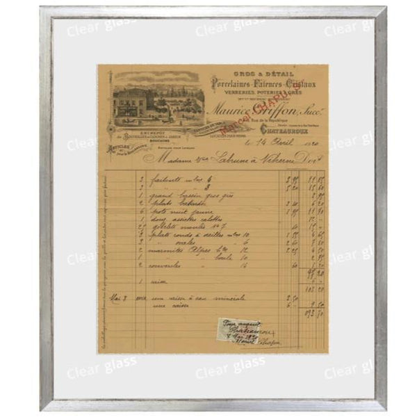 """French Receipt X"" Framed Art 12""x14""-Celadon-Home Smith"