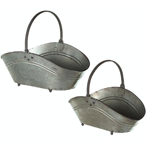 Galvanized Oval Baskets with Handle-Midwest - CBK-Home Smith
