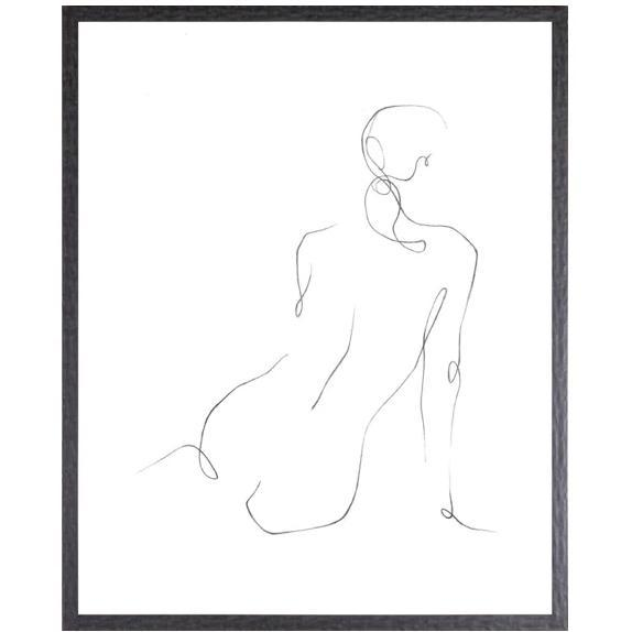 Gestural Contour Series - Figurative contour drawings-Celadon-Home Smith