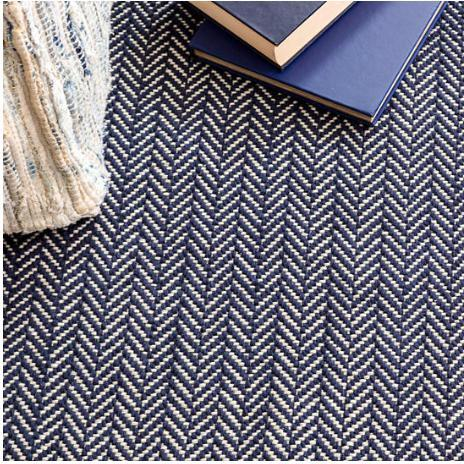 Herringbone Indigo Woven Cotton Rug - Home Smith
