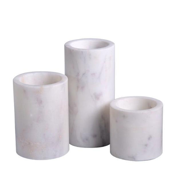 Marble Votive Holders - Set of 3-BIDK Home-Home Smith