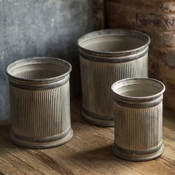 Metal Ribbed Dolly Riser Planters - Home Smith