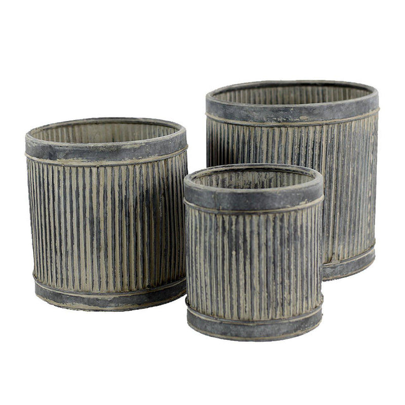 Petite Metal Ribbed Riser Planters - Home Smith