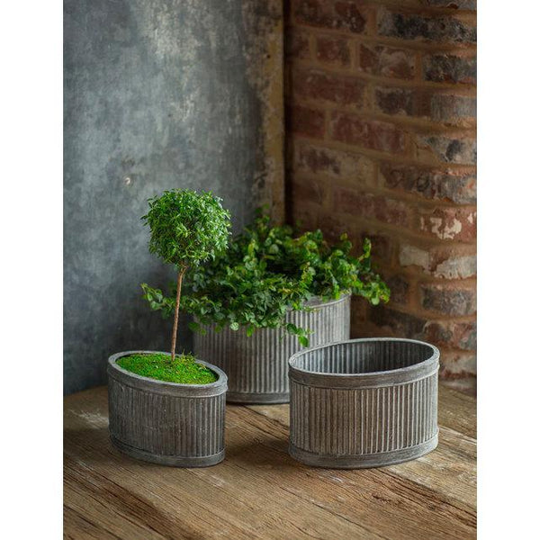 Metal Ribbed Oval Planters - Home Smith