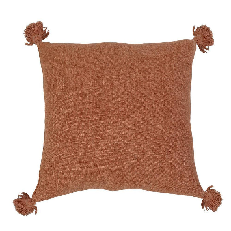 "Montauk Linen Pillow with Tassels (20""x20"") - Home Smith"