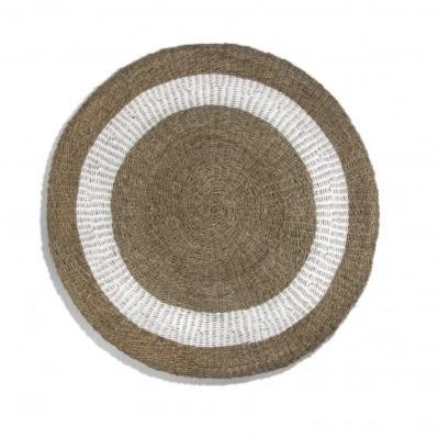 Round Seagrass Mat, White & Natural Edge - Home Smith