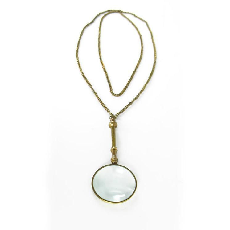Small Brass Magnifying Glass on long chain - Home Smith