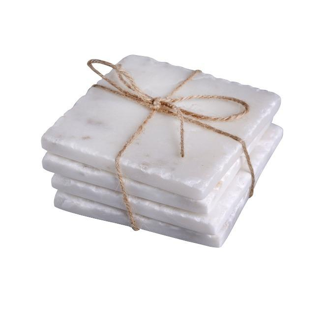 Square White Marble Coasters - Home Smith