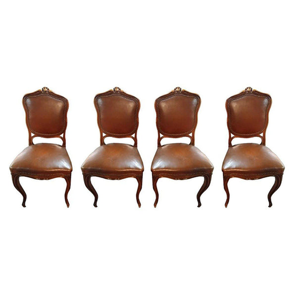 Vintage Sheild Back Leather Dining Chairs-Home Smith-Home Smith