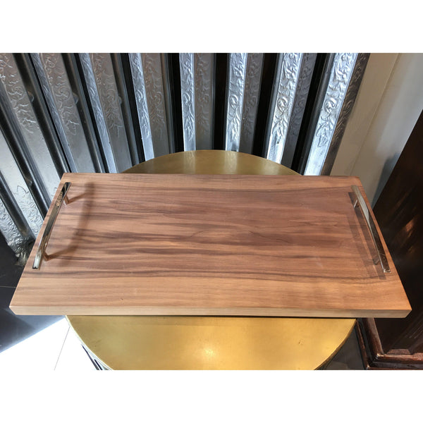 Walnut Tray with Chrome Handles - Home Smith