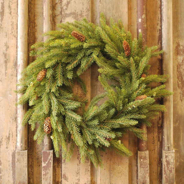 White Spruce Wreath with Pine Cones - Home Smith