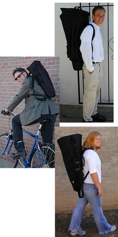 3 examples of how to use an Altieri Instrument bag, walking or riding a bike.