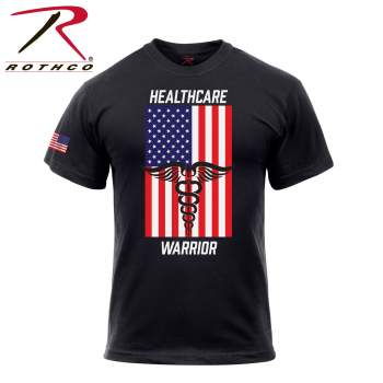 Healthcare Warrior US Flag T-Shirt - Black